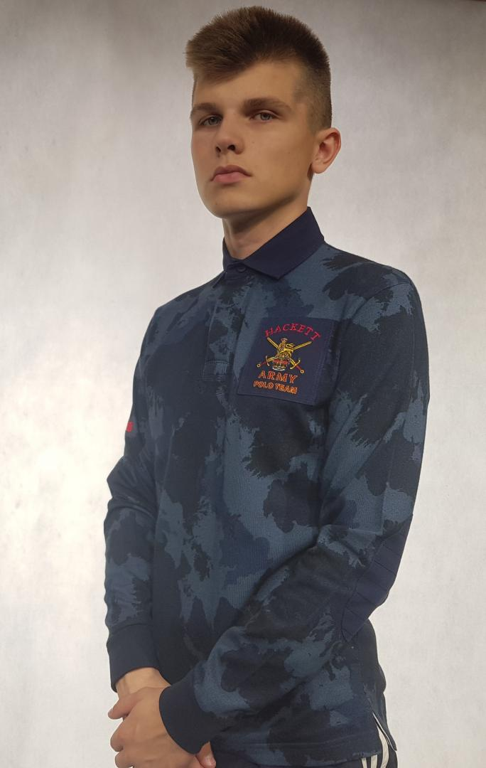 Мужская рубашка поло ДЛР  Hackett HK 129160 Серый S